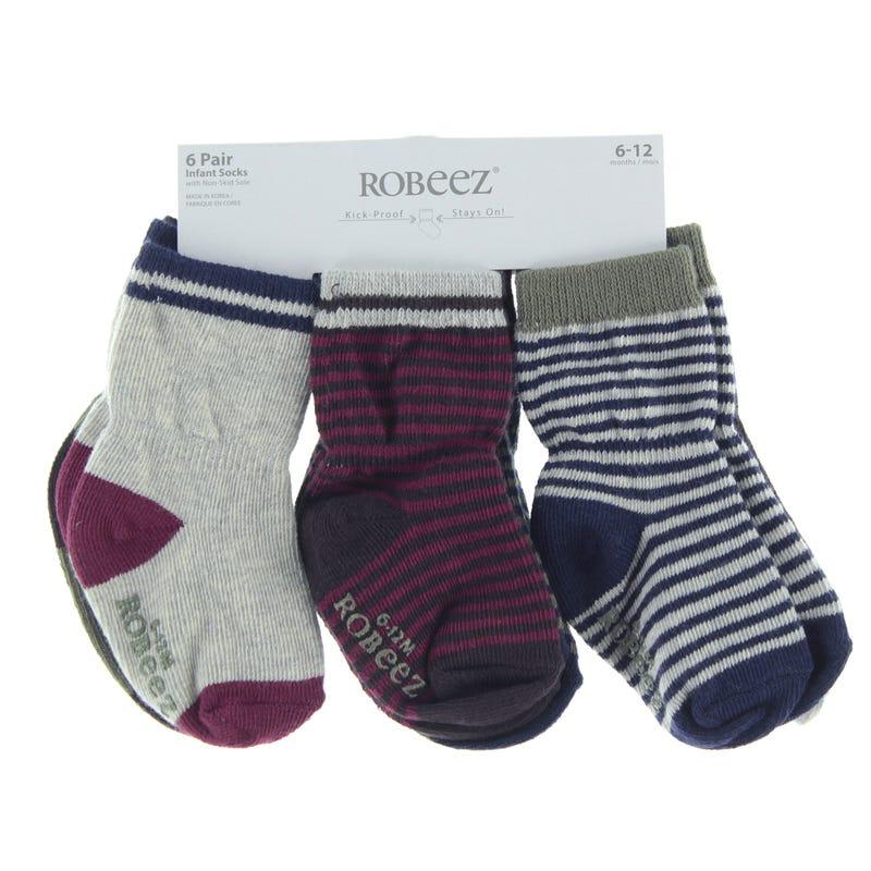 6pck Anti Slip Socks 6-24m