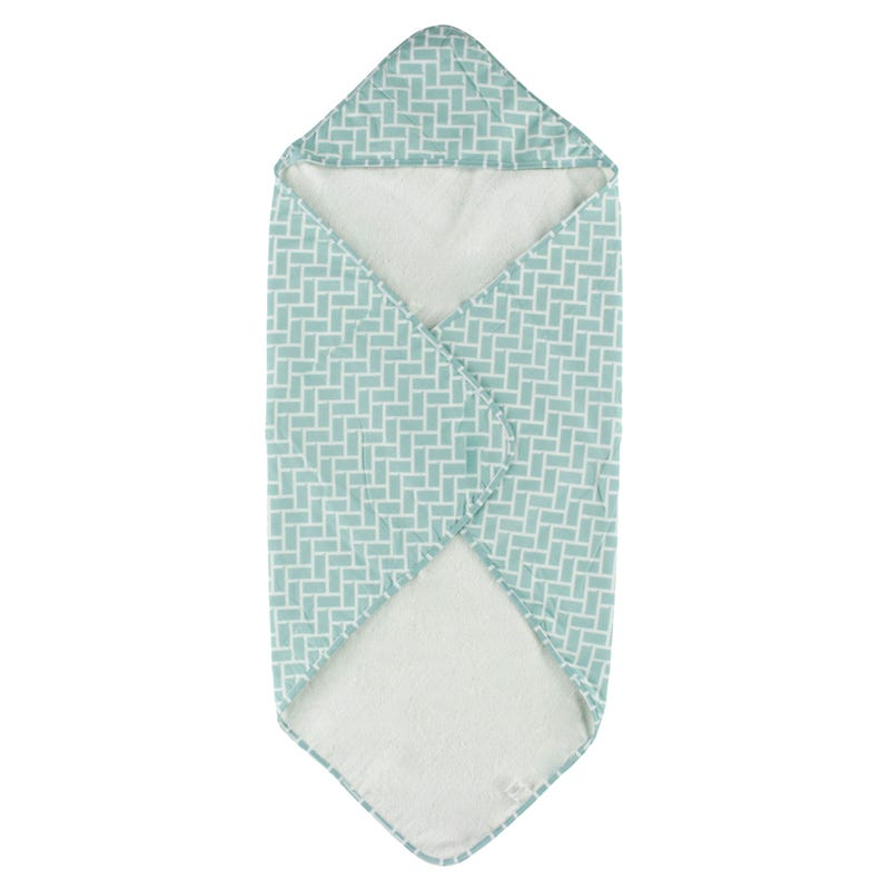 Geometric Terry Hooded Towel - Blue