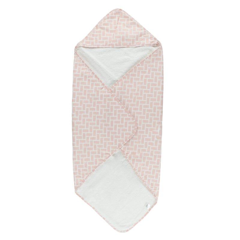 Geometric Terry Hooded Towel - Pink