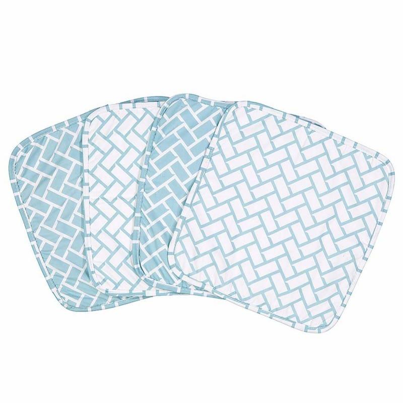Geometric 4-Piece Terry Washcloth Set - Blue