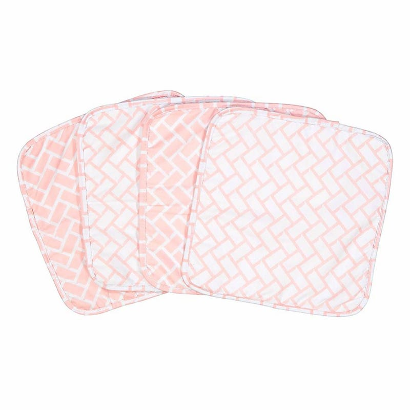 Geometric 4-Piece Terry Washcloth Set - Pink