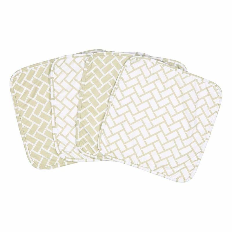 Geometric 4-Piece Terry Washcloth Set - Gray