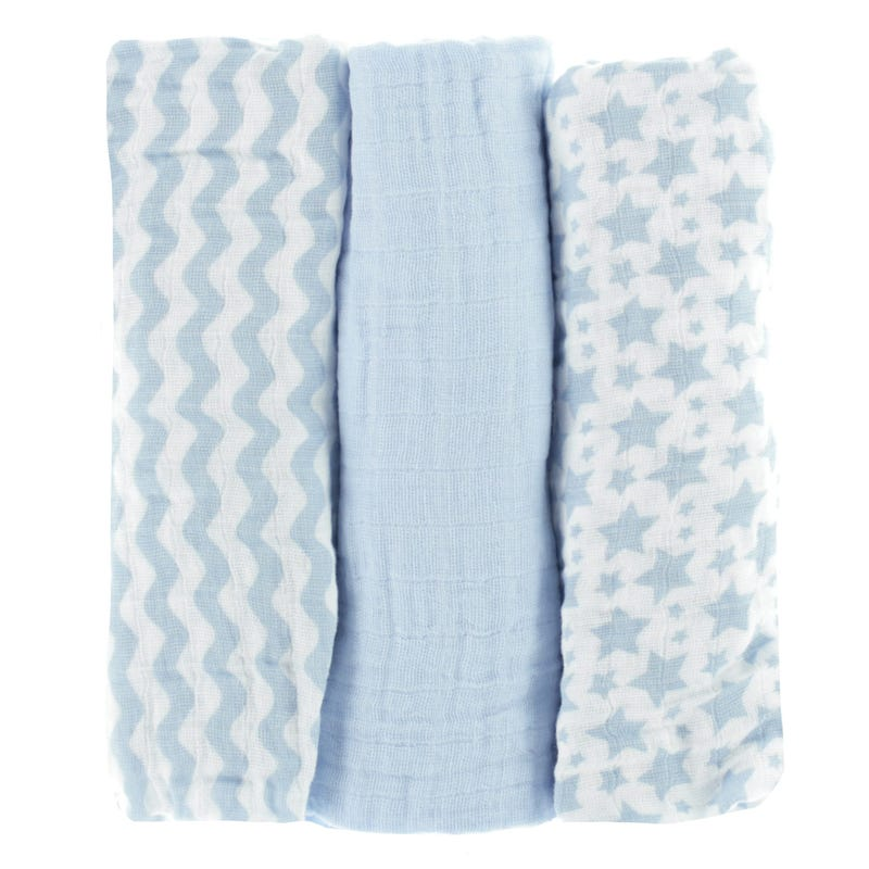 Couvertures (3) en Mousseline - Bleu