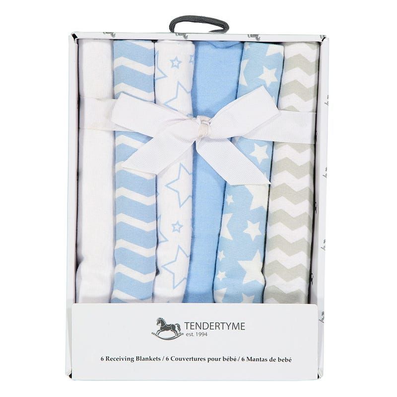 Flannel Receiving Blanket Boxed Set - Blue