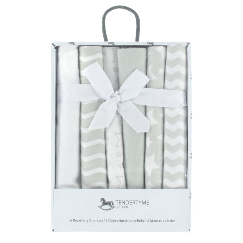 Flannel Receiving Blanket Boxed Set - Gray