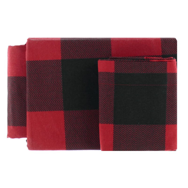 Ensemble Drap Lit Simple Flanelle - Carreaux rouge