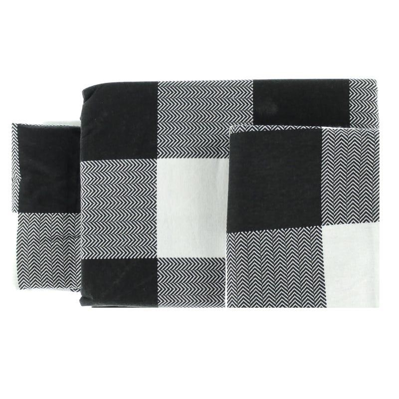 Double Flannel Sheet Set Plaid - White