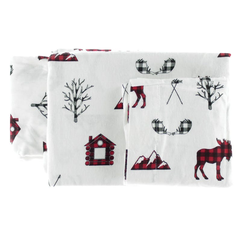 Double Flannel Sheet Set - Red