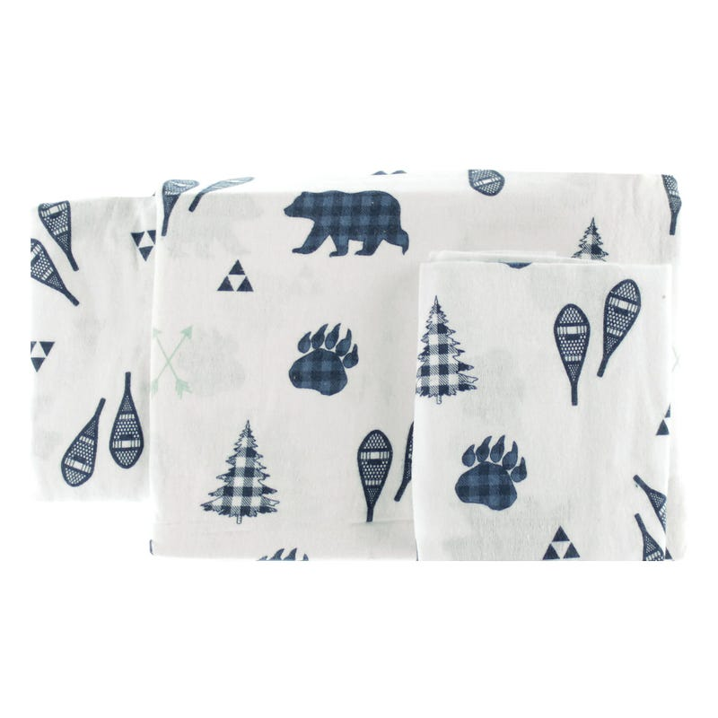 Double Flannel Sheet Set - Navy