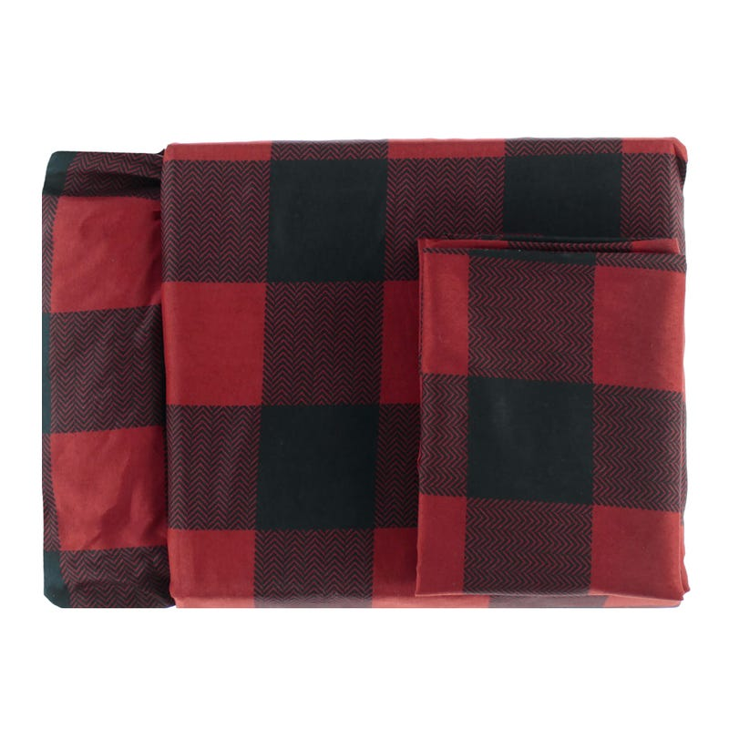 Twin Sheet Set Plaid - Red