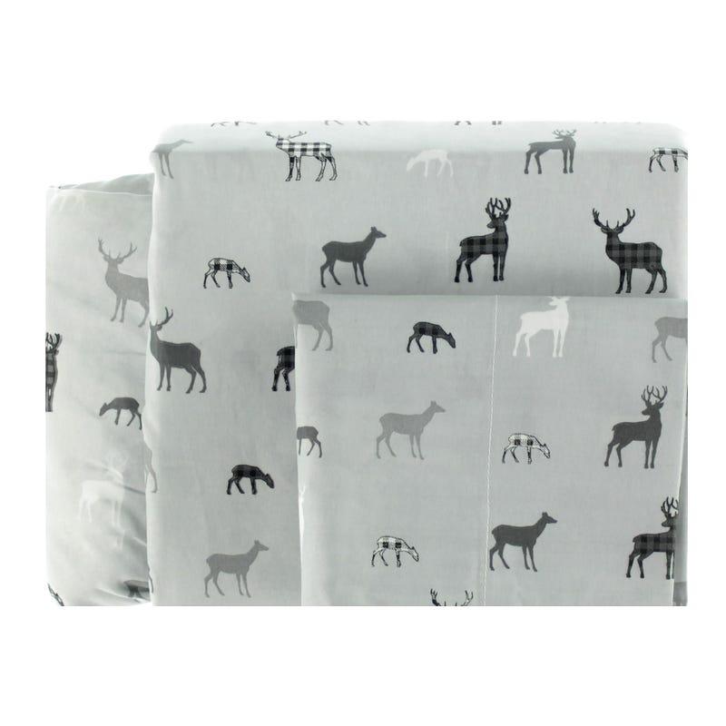Twin Sheet Set Deer - Gray
