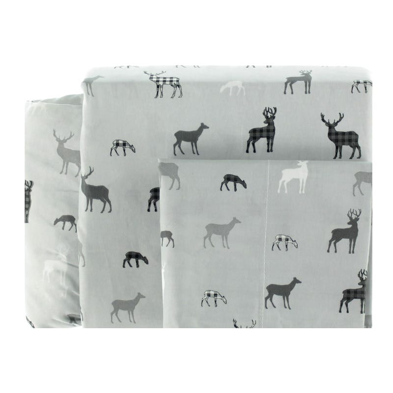 Twin Sheet Set Deer - Gray