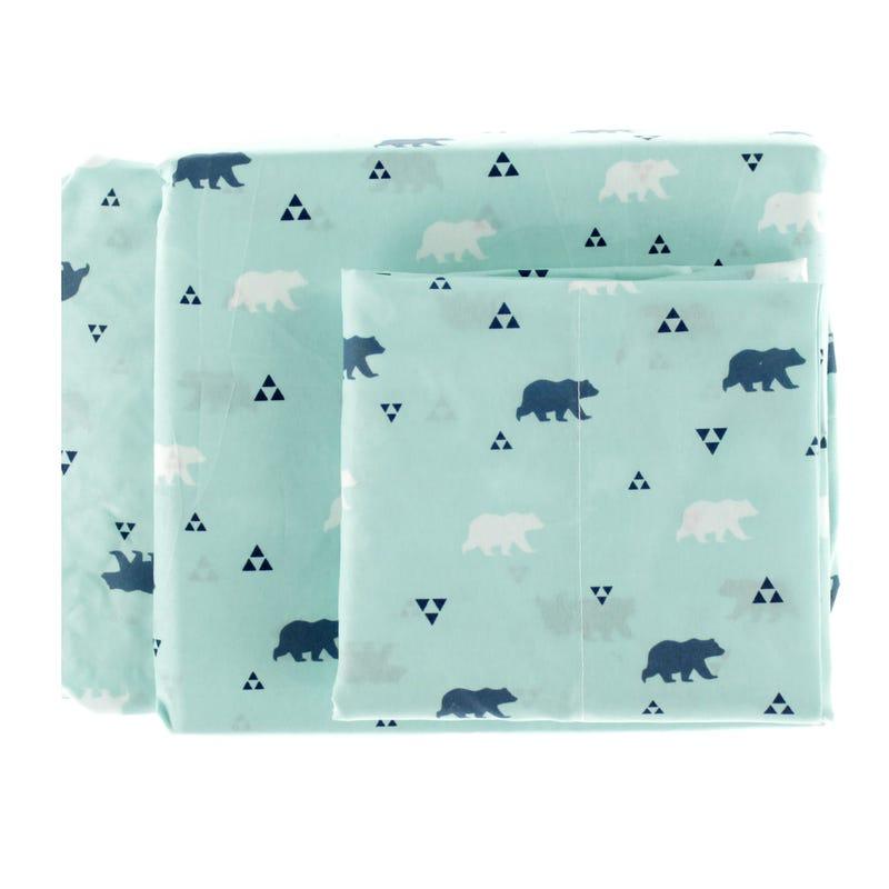 Twin Sheet Set Bear - Aqua