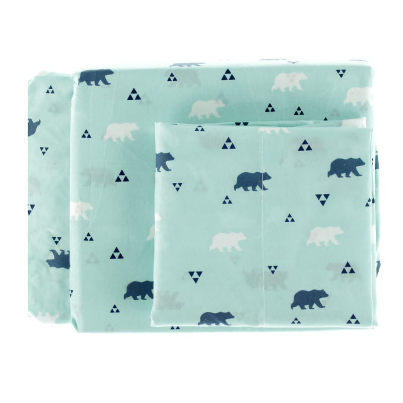 Twin Sheet Set Bear - Aqua