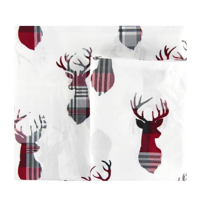 Twin Sheet Set - White Red