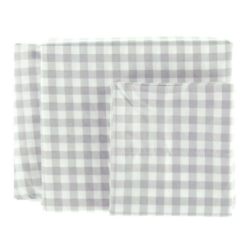 Twin Sheet Set Plaid - Gray