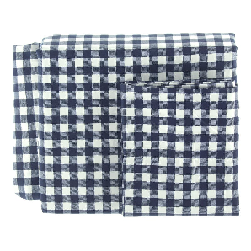 Ensemble Drap Lit Double - Carreaux Marine
