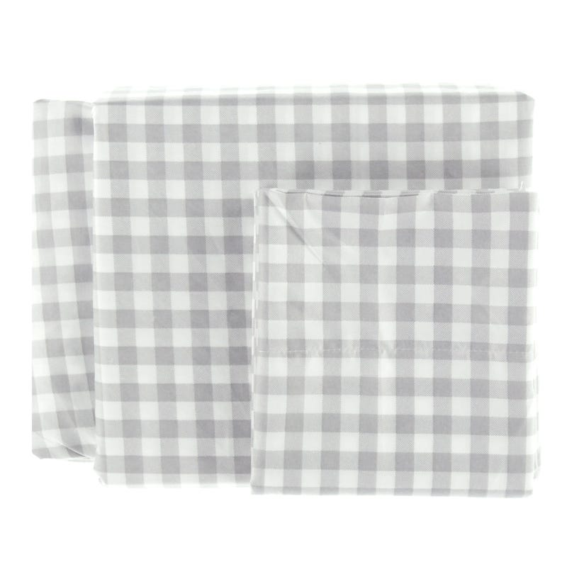 Ensemble Drap Lit Double - Carreaux Gris