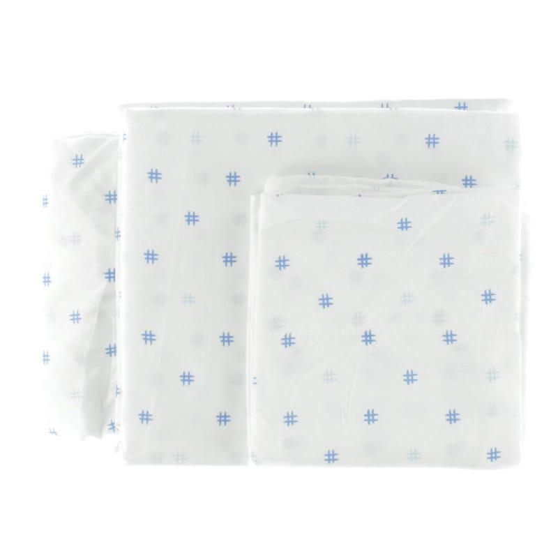 Twin Sheet Set Hashtag - Blue