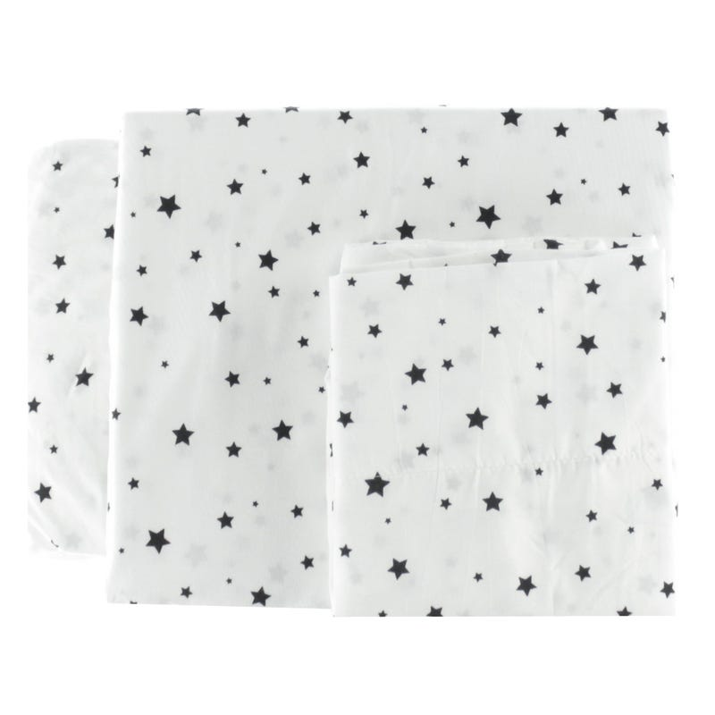 Twin Sheet Set Stars - Black