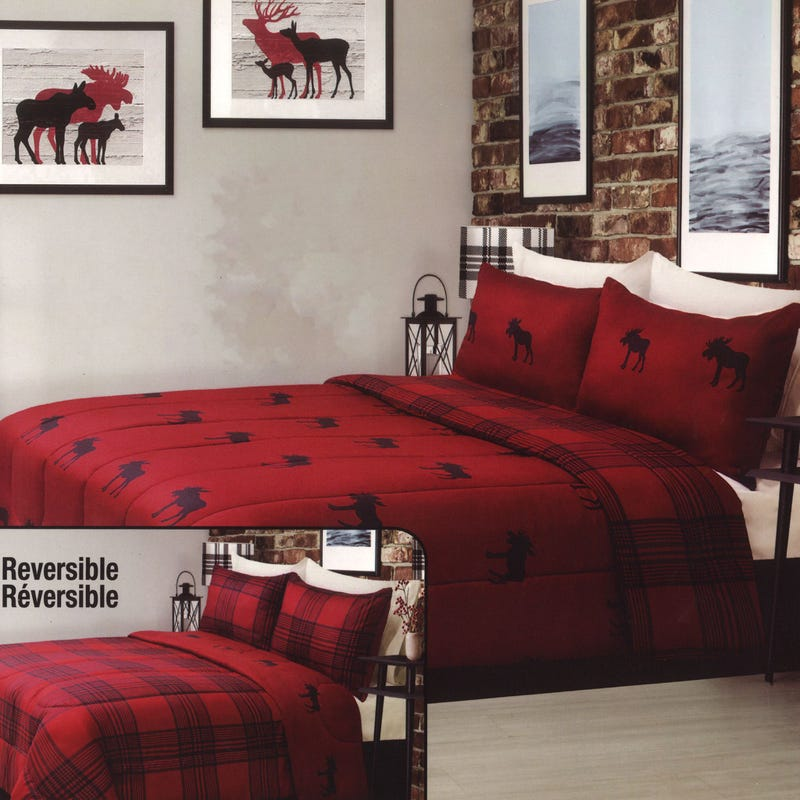 Twin Comforter Moose - Red