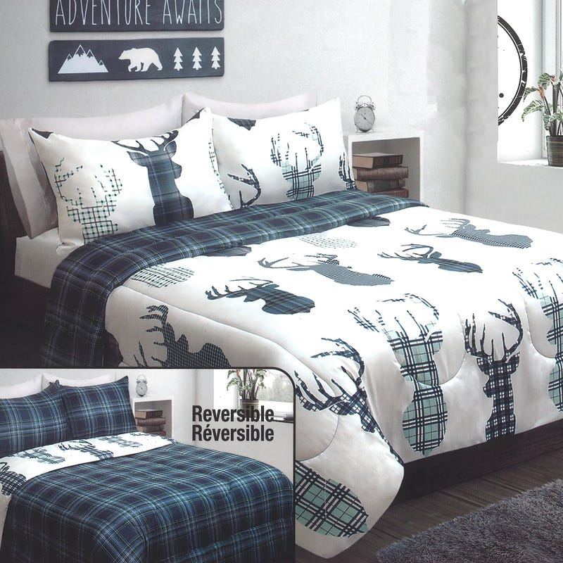 Double Comforter Deer - Navy