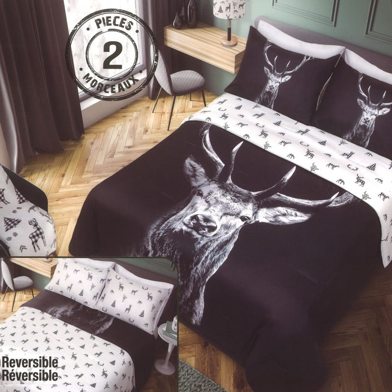 Twin Comforter Deer - Black