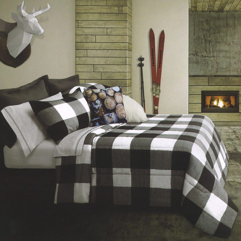 Twin Comforter Plaid - White
