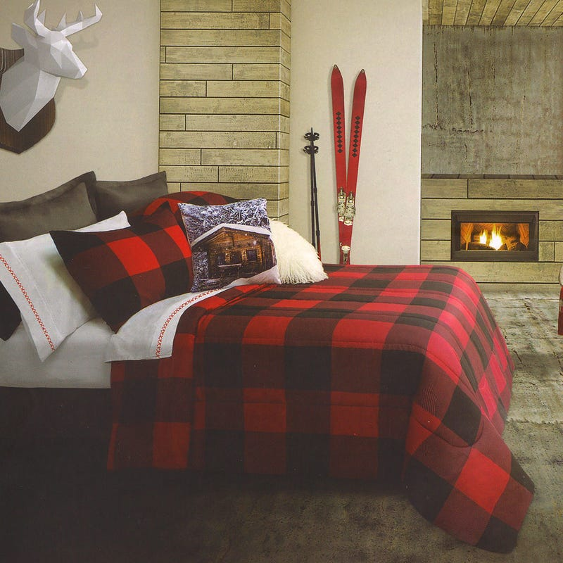 Twin Comforter Plaid - Red