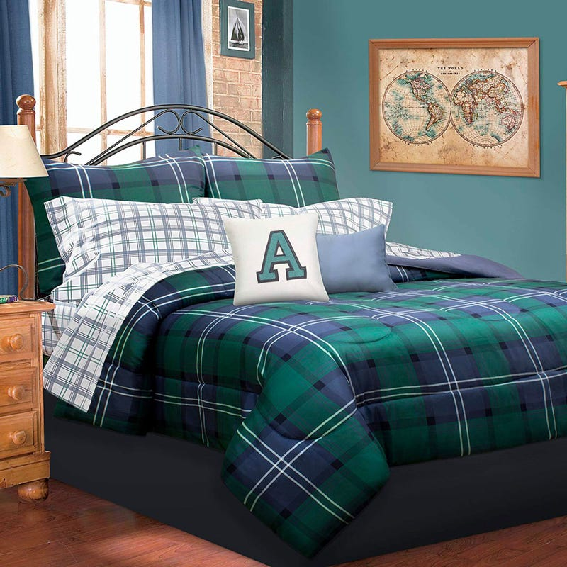 Twin Comforter Plaid - Navy