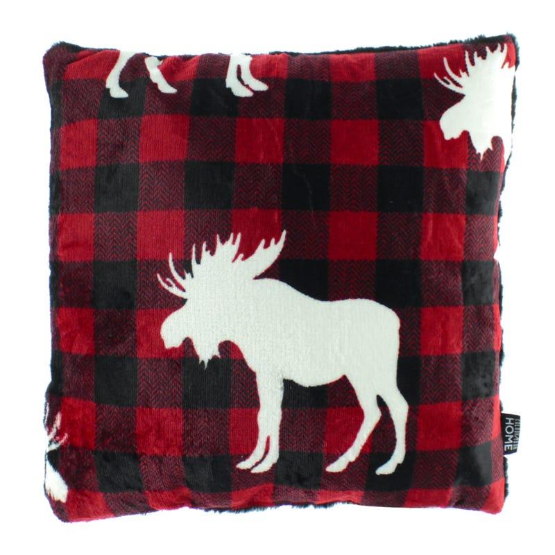 Cushion - Moose Plaid Red