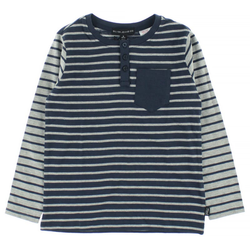 T-Shirt à Manches Longues Rayé Henley 4-7ans