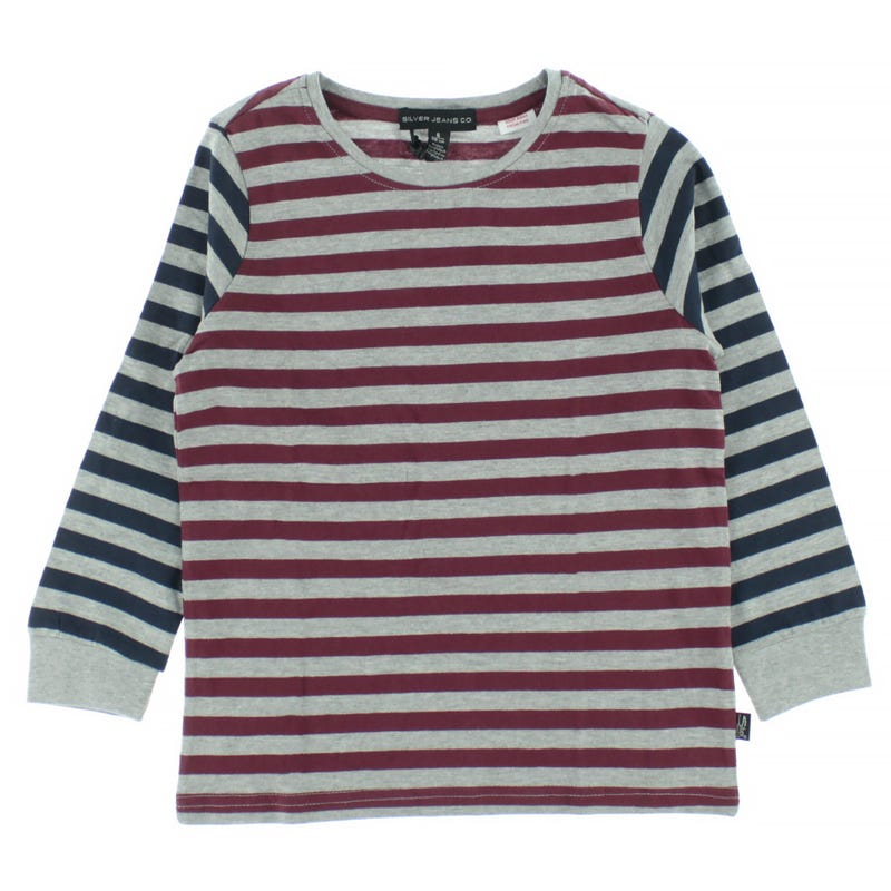T-Shirt à Manches Longues Rayé 2 Tons 4-7ans