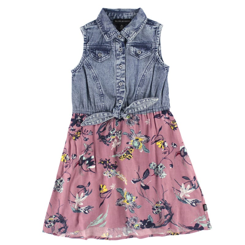 Flowery Denim Dress 7-16y