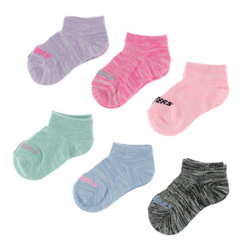 6 Pack Girl Socks 2-12y - Pastel
