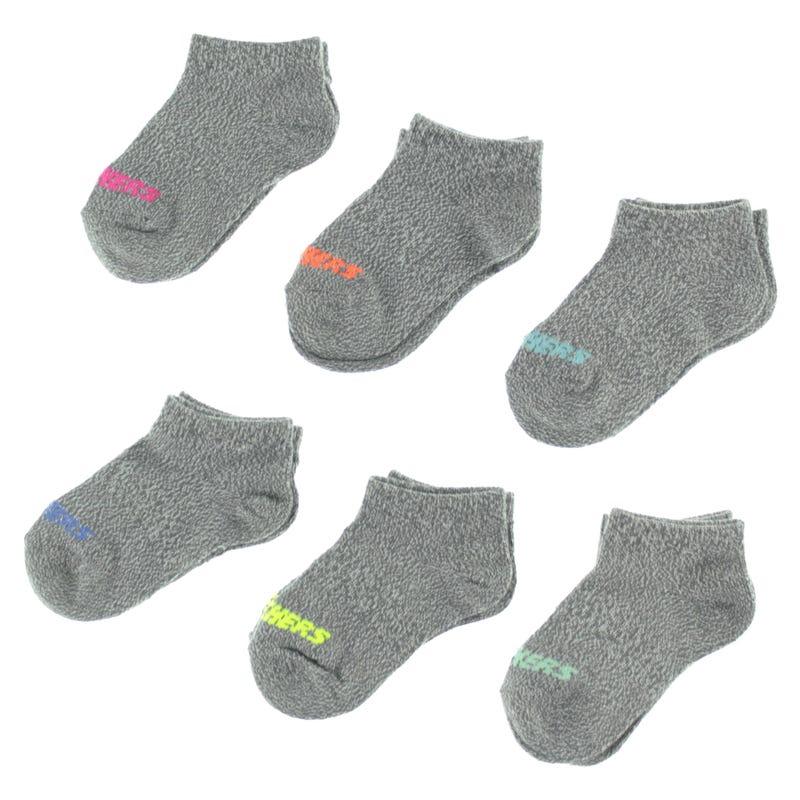 6 Pack Girl Socks  2-12y - Grey
