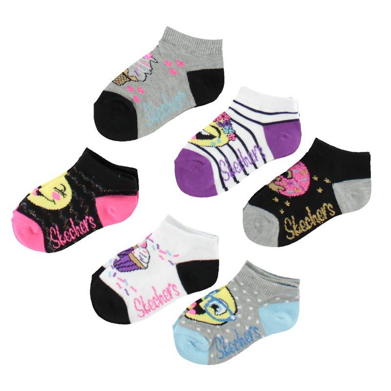 6 Pack Emoji Girl  Socks 2-16y
