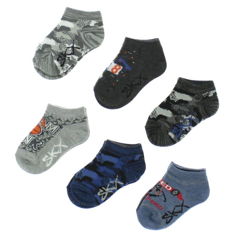 6 Pack Sports Boy Socks 2-16y