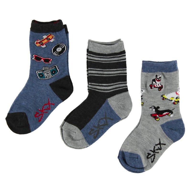 3 Pack Skate Boy Socks 2-16y