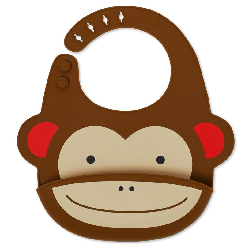 Zoo Fold and Go Silicone Bib - Monkey