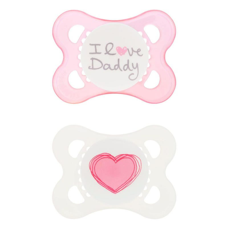 0-6months Pacifiers Set of 2 - I Love Daddy Pink
