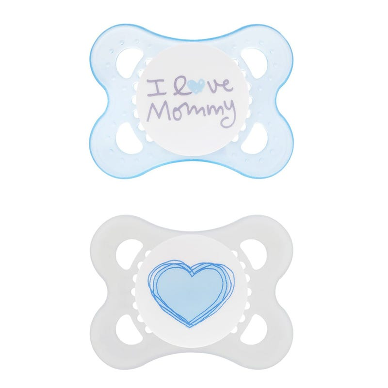 0-6months Pacifiers Set of 2 - I Love Mommy Blue