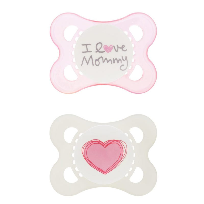 0-6months Pacifiers Set of 2 - I Love Mommy Pink