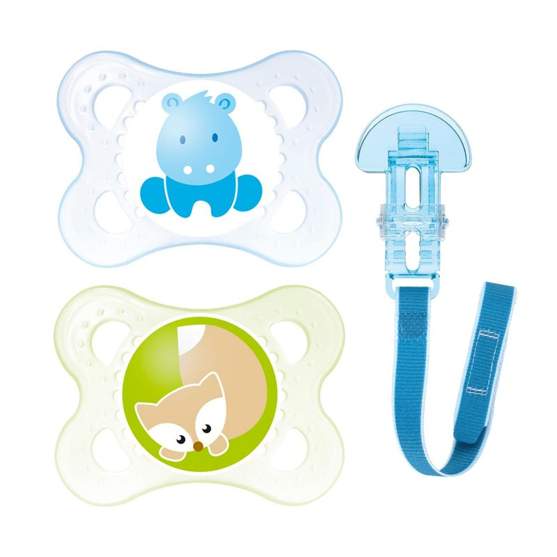 0-6months Pacifiers Set of 2 With Pacifier Clip - Blue