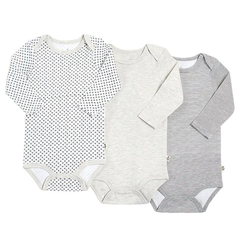 Raccoon Long Sleeves Bodysuit 3-24m - Set of 3