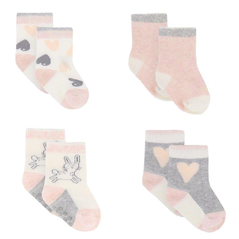 Heart 4pk Baby Socks 0-12m