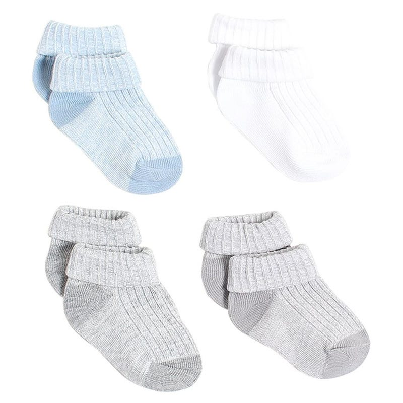 Bear Turn-Cuff Socks 0-12m - Set of 4