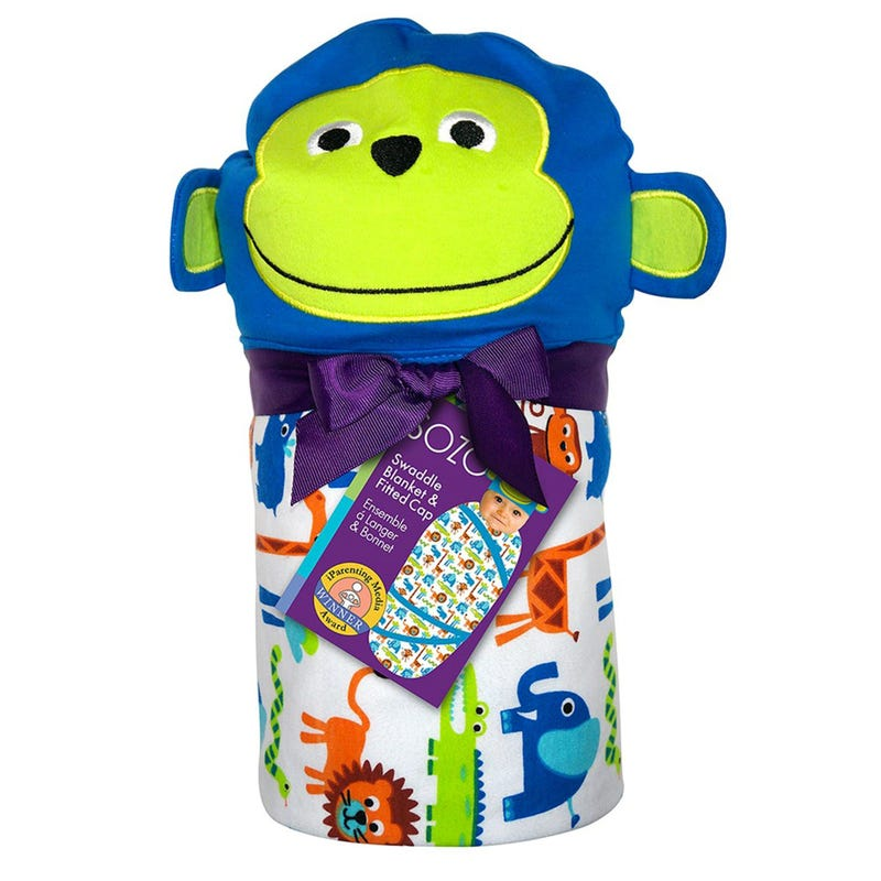 Snuggle Swaddle Blanket and Cap Set - Jungle Monkey