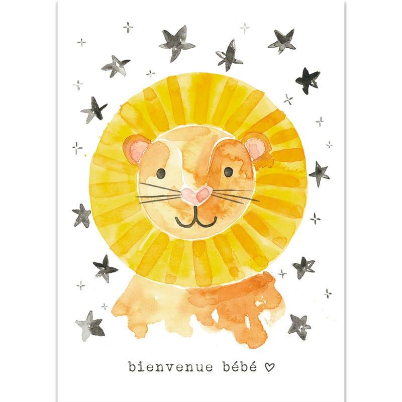 Carte de Souhait Bienvenue Bébé - Lion