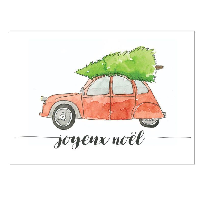 Carte de Souhait Joyeux Noël - Auto
